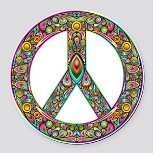 Peace Symbol Psychedelic Art Desi Round Car Magnet