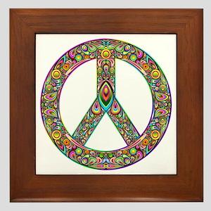 Peace Symbol Psychedelic Art Design Framed Tile