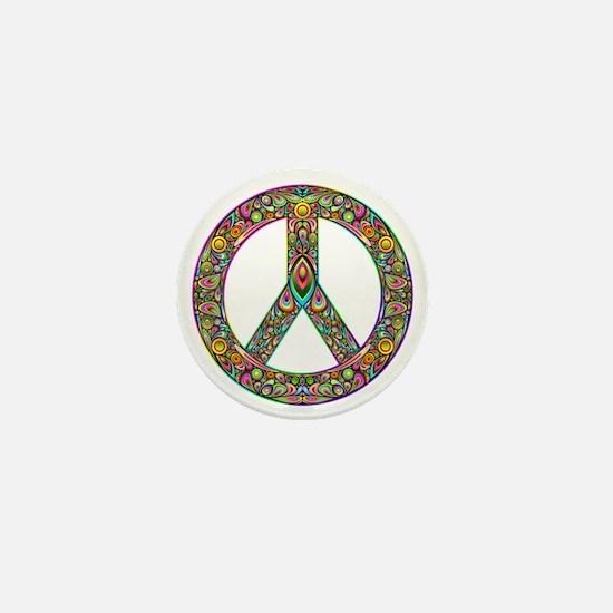 Peace Symbol Psychedelic Art Design Mini Button