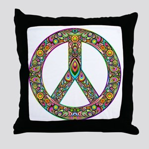 Peace Symbol Psychedelic Art Design Throw Pillow