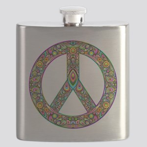 Peace Symbol Psychedelic Art Design Flask