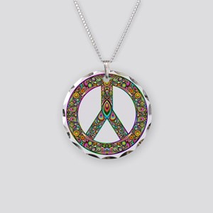 Peace Symbol Psychedelic Art Necklace Circle Charm