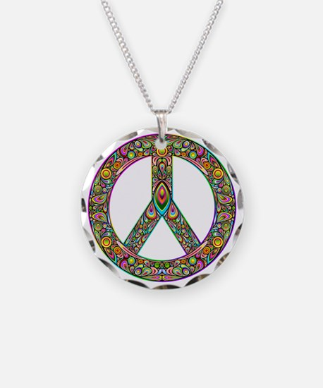 Peace Symbol Psychedelic Art Necklace