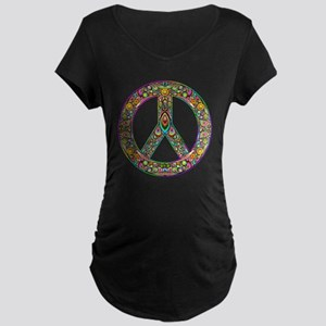 Peace Symbol Psychedelic Ar Maternity Dark T-Shirt