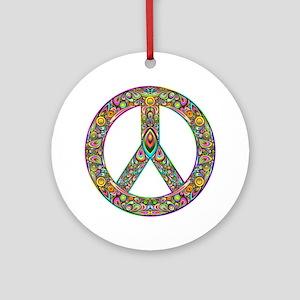 Peace Symbol Psychedelic Art Design Round Ornament