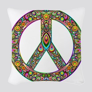 Peace Symbol Psychedelic Art D Woven Throw Pillow