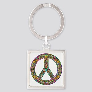 Peace Symbol Psychedelic Art Desig Square Keychain