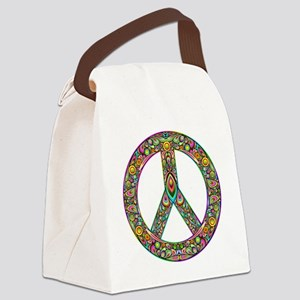 Peace Symbol Psychedelic Art Desi Canvas Lunch Bag