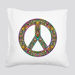 Peace Symbol Psychedelic Art  Square Canvas Pillow
