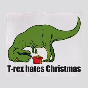 T-rex hates Christmas Throw Blanket