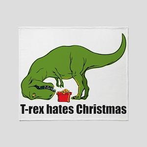 T-rex hates Christmas Throw Blanket