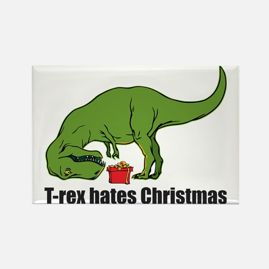 T-rex hates Christmas Rectangle Magnet
