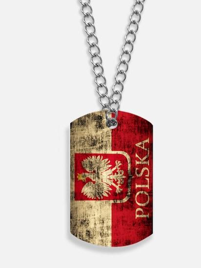 Polska Flag Polish Coat of Arms Distresse Dog Tags
