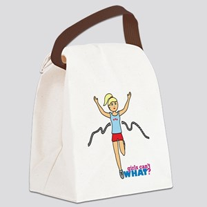 Girl Running Blue and Red Canvas Lunch Bag