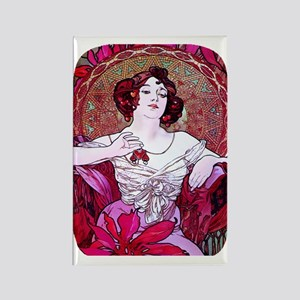 PwrBnk-Ruby Jewel Mucha Lady Rectangle Magnet