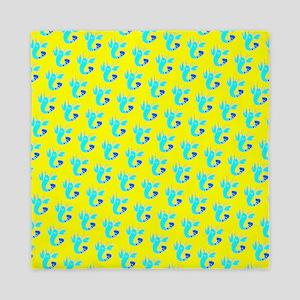 Yellow Turquoise Lobsters Designer Queen Duvet