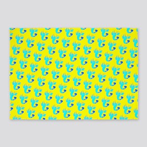 Yellow Turquoise Lobsters Designer 5'x7'Area Rug