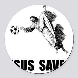 Jesus Saves Soccer Round Car Magnet