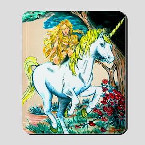 unicorn and maiden Large Print Mousepad