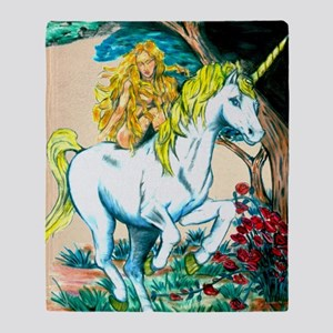 unicorn and maiden Large Print Throw Blanket