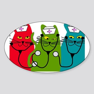 black cats NURSE BEST Sticker (Oval)