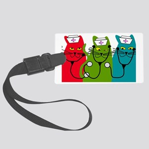 black cats NURSE BEST Large Luggage Tag
