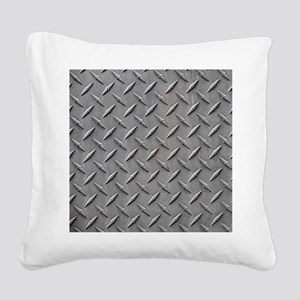 Diamond Plated Steel Square Canvas Pillow