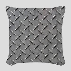Diamond Plated Steel Woven Throw Pillow