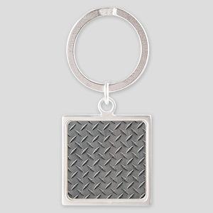 Diamond Plated Steel Square Keychain