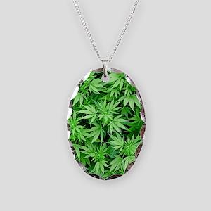 Marijuana Necklace Oval Charm