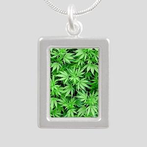 Marijuana Silver Portrait Necklace