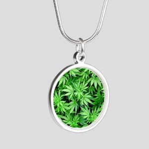 Marijuana Silver Round Necklace