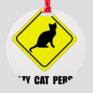 Crazy Cat Person Round Ornament