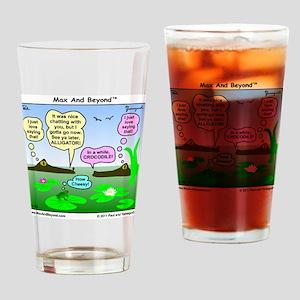 Alligator and Crocodile Cartoon Drinking Glass