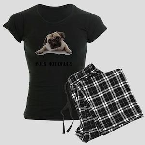 Pugs Not Drugs Black Women's Dark Pajamas