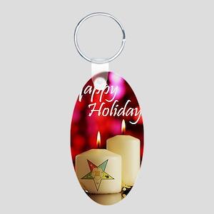 Eastern Star Holiday Card Aluminum Oval Keychain