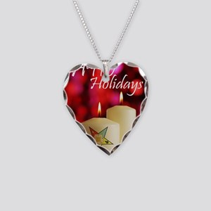 Eastern Star Holiday Card Necklace Heart Charm