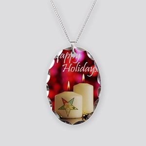 Eastern Star Holiday Card Necklace Oval Charm