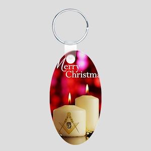 Masonic Christmas Card Aluminum Oval Keychain