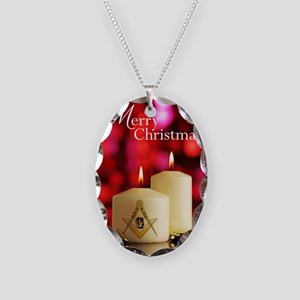 Masonic Christmas Card Necklace Oval Charm