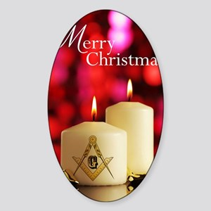 Masonic Christmas Card Sticker (Oval)