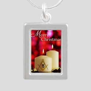 Masonic Christmas Card Silver Portrait Necklace