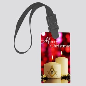 Masonic Christmas Card Large Luggage Tag