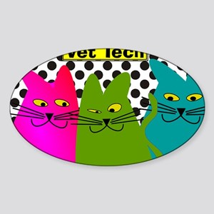 Vet TEch 3 CATS Whimiscal Sticker (Oval)