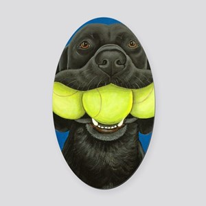 Black Lab with 3 tennis balls Oval Car Magnet