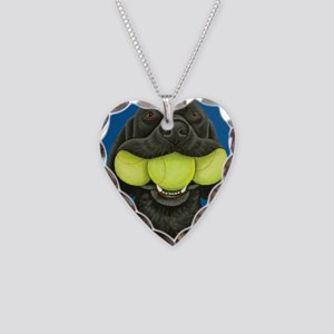 Black Lab with 3 tennis balls Necklace Heart Charm