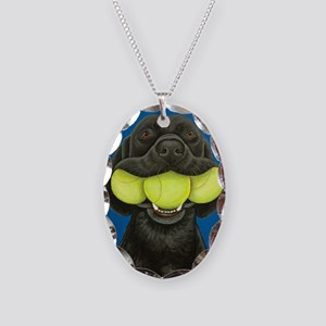 Black Lab with 3 tennis balls Necklace Oval Charm