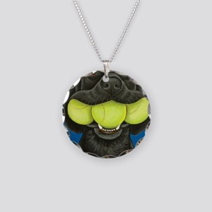 Black Lab with 3 tennis ball Necklace Circle Charm