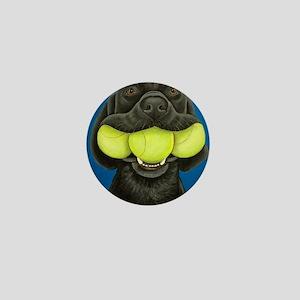 Black Lab with 3 tennis balls Mini Button