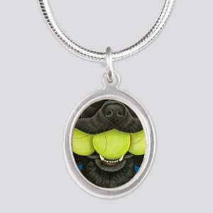 Black Lab with 3 tennis balls Silver Oval Necklace